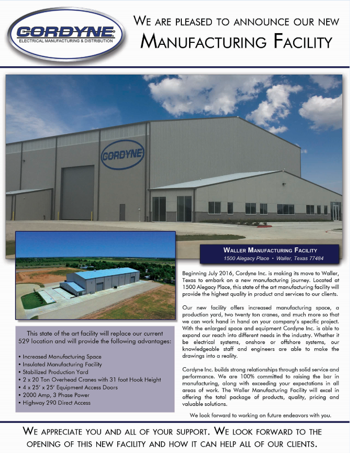 New Manufacturing Facility